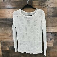 J.Jill Women's Cream Textured Open Knit Long Sleeve Pullover Sweater Size Small
