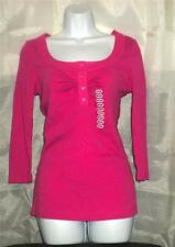 HENLEY FITTED 100% COTTON SHIRT WITH GLASS BUTTONS M NWT  DEEP PINK TRAVELS WELL