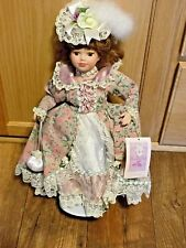 Collectible Memories Victoria Porcelain Doll  w Pink & Green Flower Lace Dress