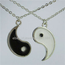 2Set Enamel Alloy Best friend I Ching Bagua Tai Chi Ying Yang Pendant Necklace