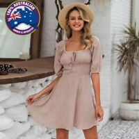 Cute Square Collar Dusty Pink White Floral Short Beach Summer Dress