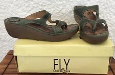 Fly London Women's 'Bice' Dark Green Slip on wedge sandals UK Size 7 EU 40
