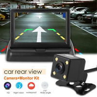"""170° Wired HD Car Reversing Rear View Camera+4.3"""" TFT LCD Foldable Monitor Kit"""