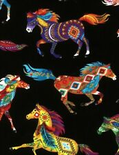 Timeless ~ HORSES Southwest Painted Ponies Bright ~ 100% Cotton Quilt Fabric BTY
