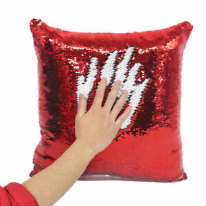 Red Sublimation Blank Reversible Sequin Magic Swipe PillowCushion Case valintine