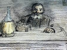 MAN DRINKING. GRAPHITE-WATERCOLOR ON PAPER. LLUIS GRANER ARRUFI. SPAIN. XIX-XX