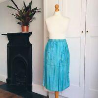 Vintage 60s 70s Blue Turquoise Green Stripe Print Cotton Pencil Skirt Pockets 8