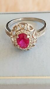 Sterling Silver 925 Red Stone Ring & C/Z Ring Size O