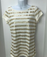 Ann Taylor Loft Knit Tee Size M Womens Sequin Embellished Striped Top Ivory Gold