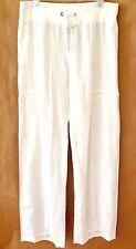 NWT Eileen Fisher White 100% Linen Wide Leg Drawstring Pants S