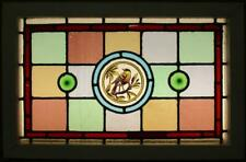 "VICTORIAN ENGLISH LEADED STAINED GLASS WINDOW Hand Painted Bird 24"" x 15.75"""