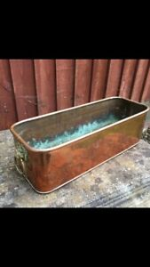 VINTAGE COPPER PLANTER TROUGH WINDOW BOX WITH BRASS LION HEAD RING HANDLES
