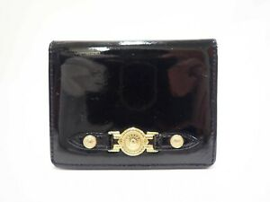 Authentic Gianni Versace Medusa Card ID Holder Case Black Patent Leather