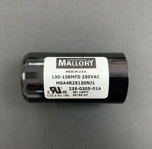 130-156uf Mallory Motor Start Capacitor MSA4R25130NJ1 240V 150mfd 250V
