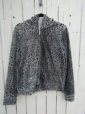 Jones New York Womens Velour Zip Hooded Jacket Gray Animal Print Size L