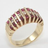 Solid 14K Yellow Gold Natural Ruby Diamond Graduated Ring Size 7.5 GFB