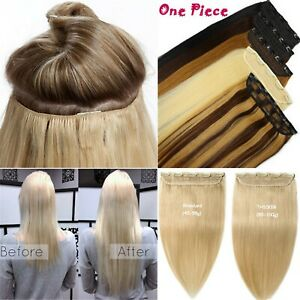 Extra Thick Double Weft 5Clips One Piece Clip In Real Human Hair Extensions 150g