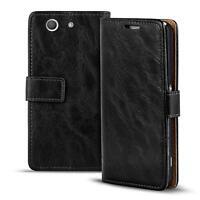 Handy Tasche Sony Xperia Z3 Compact Flip Cover Case Schutz Hülle Wallet Etui