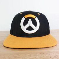BLIZZARD OVERWATCH BLACK AND GOLD LOGO SNAPBACK ADJUSTABLE BASEBALL HAT CAP