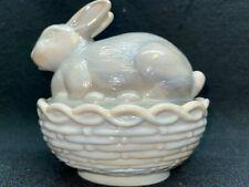 gray milk glass bunny rabbit on nest / basket candy dish Easter opaque slag eggs