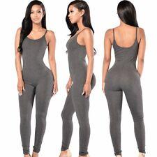 Abito lungo tuta aperto Nudo aderente Lacci Straps Jumpsuit Dress clubwear L