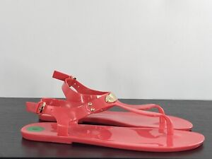 Women MK Michael Kors Jelly Plate Flat Sandal Bright Crimson Size 8