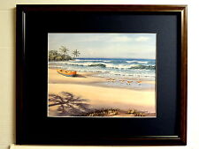 TROPICAL BEACH PICTURE SANDPIPERS  PIROGUE PALMS SEASCAPE  MATTED FRAMED 16X20