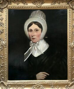 Original 19th Century Antique Framed Oil Painting Portrait Lady in Ribbon Bonnet