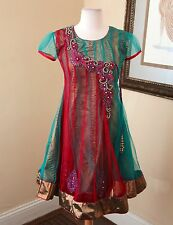 Green Teal Red Sequin Beaded Indian Sari Dance Dress Size 36 Tassel US S