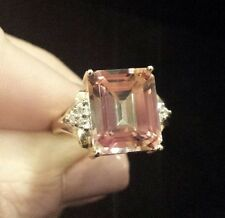 COLORFUL10K Yellow Gold Emerald-Cut Pink Mystic Topaz & Diamond Ring, Sizeable 7