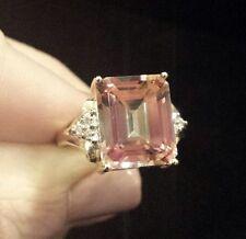 COLORFUL 10K Yellow Gold Emerald-Cut Pink Mystic Topaz & Diamond Ring,Sizeable 7