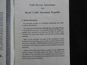 "1948 Koppers Model F-200 ""Aero-Matic"" Airplane Propeller Field Service Manual"