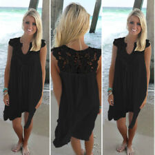 Women's Summer Beach Wear Bikini Cover Up Lace Chiffon Mini Sun Dress Plus Size