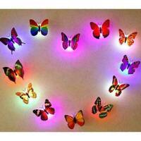 3D Glowing Butterfly LED Flashlight Sticker Decals Z2H2 Home Desk Decor K9B2