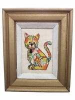 Vintage Cat Stitched Frame Wall Decor 9 x 11 handstitched Kitten picture