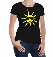Damen Kurzarm Girlie T-Shirt Sun with glasses Strand Urlaub Sonne Sonnenbrille