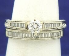 1 ct DIAMOND BRIDAL WEDDING RING SET SOLID 14 KW GOLD 5.5 g SIZE 7