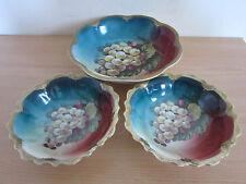 """3 Antique Zs & Co. Mignon Bavaria Porcelain Bowls Grapes + Gilt 8 3/4"""" + 6 1/2"""""""