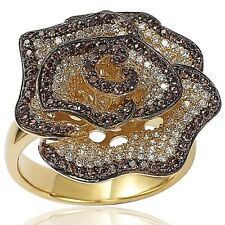 and White Cubic Zirconia Flower Ring Suzy Levian Sterling Silver Pave-set Brown