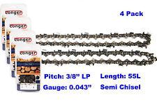 "16 Inch 3/8"" LP Pitch 0.043'' Gauge Semi Chisel Chainsaw Chain 55 Links (4PCS)"