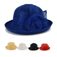 Elegant Women Lady Wedding Church Dress Hat Bucket Kentucky Derby Floral Hat