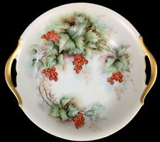 T V Limoge France Signed Hand Painted Two Handled Dish Bowl Currants 9.5""