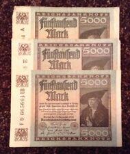 LOTTO di 3 x BANCONOTE TEDESCHE. 5000. MARK datata 1922. Germania.