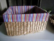 Wasserhyazinthe Wäschekorb Aufbewahrungskorb Dekokorb Shabby Korb mit Stoff
