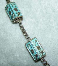 "Vintage Art Deco Era Chinese Silver Blue Enamel Cherry Blossom Long Necklace 24"""
