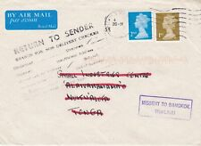 Great Britain, 2007, Cover, Machine cancel, to Tonga, Miss-sent to Bangkok