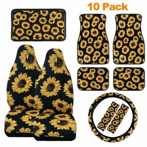 Sunflower Pattern Car Front Seat Covers/Floor Mat/Steering Wheel Cover Universal
