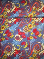 Patchworkstoff Baumwolle Free Spirit Katharine's Wheel Kat Flower Blau Rot Okker