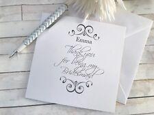 Personalised Thank You Greetings Card/Envelope Wedding/Bridesmaid C19