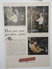 Original Print Ad 1956 WESTERN ELECTRIC How Your Voice Gets There Faster